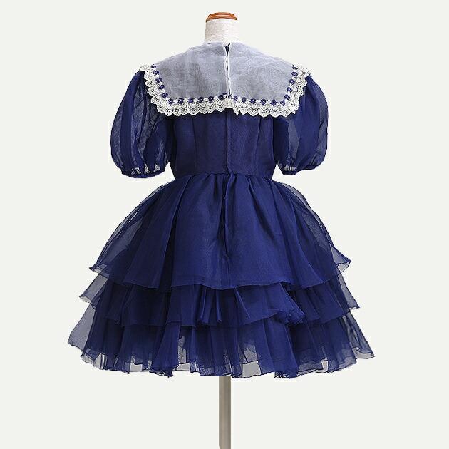 子供 ドレス レンタル 9〜10才 紺色 半袖 -dj100