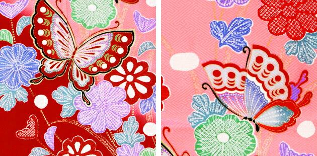 袴 レンタル 女の子/5〜7歳 七五三着物 7歳 七五三着物7歳 赤ピンク色/蝶々 卒園式 結婚式 ★NT-袴121