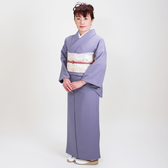 色無地 レンタル 袷 10月〜5月向け 薄紫色 着物 一つ紋 シルック お茶会 入学式 卒業式 NT-91