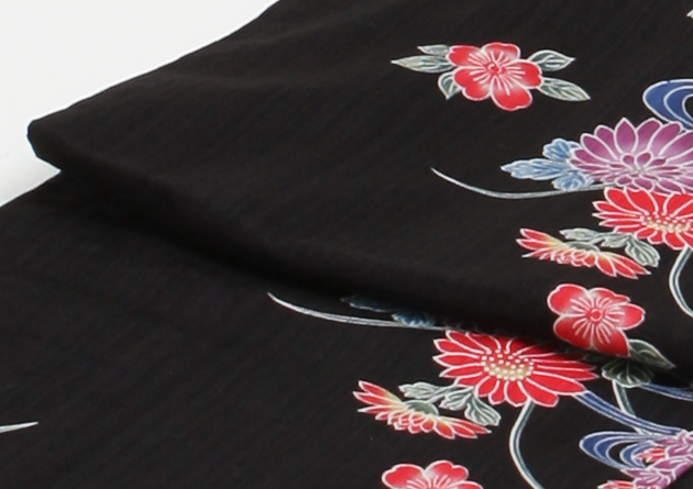 【浴衣 レンタル】レディース 3点セット☆浴衣・帯・下駄☆nt-y027 黒色/菊流水