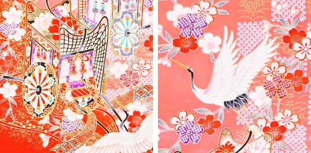袴 レンタル 女の子/5〜7歳 七五三着物 7歳 七五三着物7歳 朱色/御所車鶴 卒園式 結婚式 NT-袴123