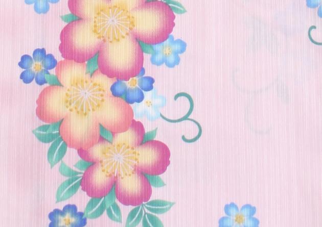 【浴衣 レンタル】レディース 3点セット☆浴衣・帯・下駄☆nt-y028 薄ピンク色/花