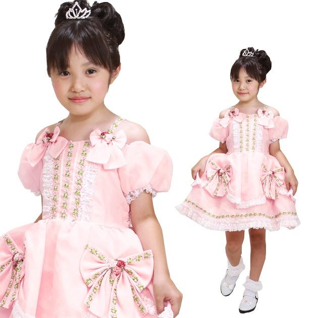 子供 ドレス レンタル 7〜8才 ピンク色 パフスリーブ -dj228
