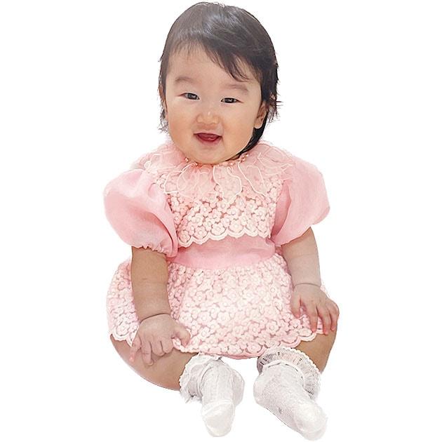 子供 ドレス レンタル 1〜2才 ピンク色 長袖パンツ付 -er3029