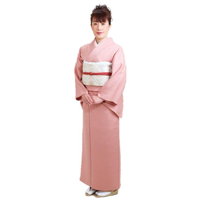 色無地 レンタル 袷 広幅 10月〜5月向け 高級正絹 ピンク色 着物 一つ紋 お茶会 入学式 卒業式 NT-L103