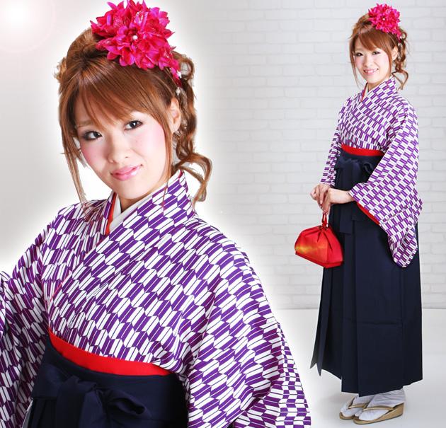 卒業式 袴 レンタル 紫色 矢絣柄 はいからさん 身長〜170cm,7号〜13号