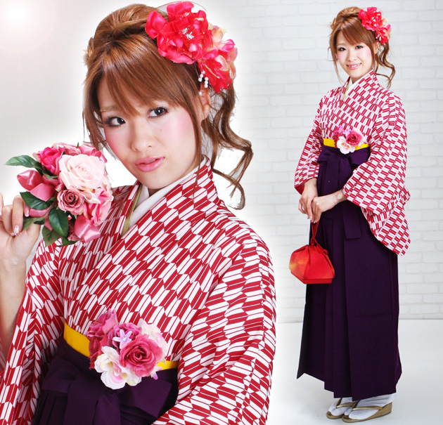 卒業式 袴 レンタル 赤色 矢絣柄 はいからさん 身長〜170cm,7号〜13号