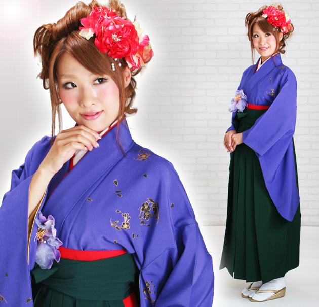 卒業式 袴 レンタル 紫色 桜 身長〜165cm,7号〜13号 NT-222