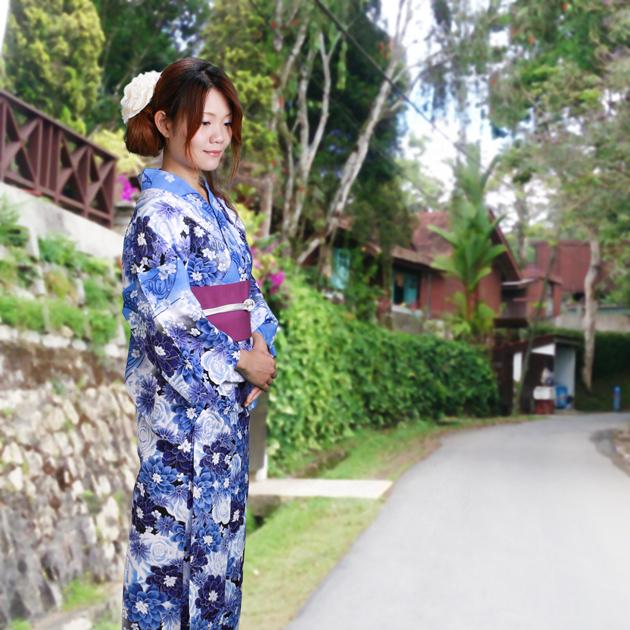 【浴衣 レンタル】レディース 3点セット☆浴衣・帯・下駄☆nt-y037 ブルー/バラ 蝶