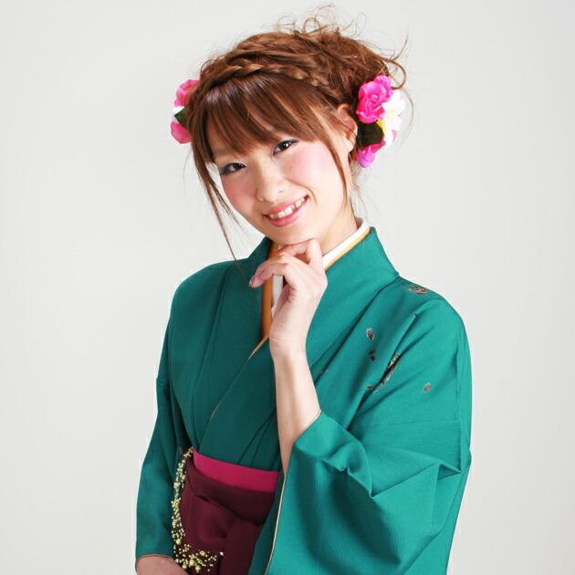 卒業式 袴 レンタル 緑色 桜 身長〜160cm,7号〜13号 NT-224