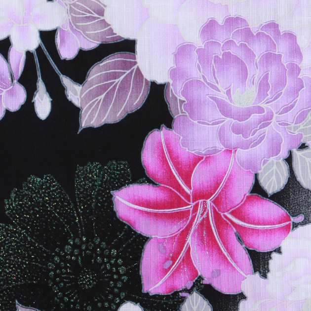 【浴衣 レンタル】レディース 3点セット☆浴衣・帯・下駄☆nt-y038 黒ピンク/ゆり 花柄