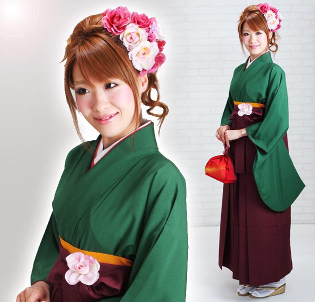 卒業式 袴 レンタル 緑色 無地 身長〜158cm,7号〜13号 NT-228