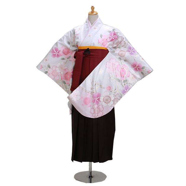 卒業式 袴 レンタル 白シルバー色 ピンク桜 身長〜170cm,7号〜13号 NT-298
