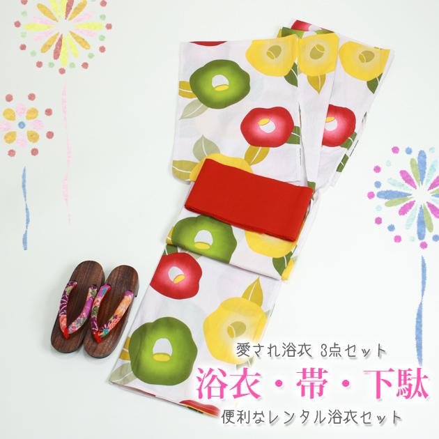 【浴衣 レンタル】レディース 3点セット☆浴衣・帯・下駄☆nt-y041 ベージュ/椿