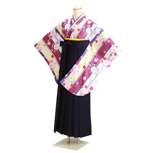 卒業式 袴 レンタル 白色 桜ストライプ 紺袴 身長〜158cm,5号〜11号 NT-305