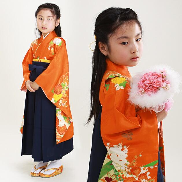 袴 レンタル 女の子/5〜7歳 七五三着物 7歳 七五三着物7歳 朱色・紺色/花扇 卒園式 結婚式 NT-ト