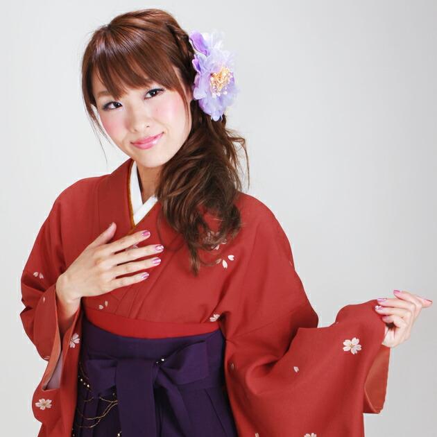 卒業式 袴 レンタル 赤色・オレンジ 小桜 身長〜170cm,7号〜13号 NT-230