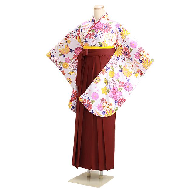 卒業式 袴 レンタル 白地 花柄 エンジ袴 身長〜158cm,5号〜11号 NT-306