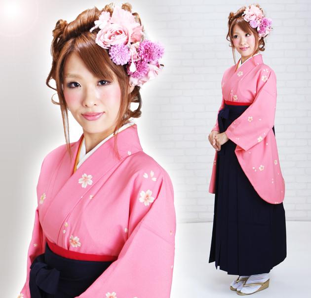 卒業式 袴 レンタル ピンク色 小桜 身長〜170cm,7号〜13号 NT-237