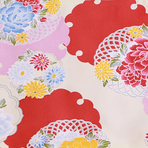 卒業式 袴 レンタル 白色 雪輪に花 エンジ袴 身長〜158cm,5号〜11号 NT-307