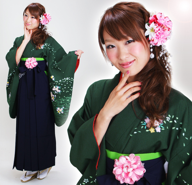 卒業式 袴 レンタル 緑色 桜 身長〜170cm,7号〜13号 NT-240