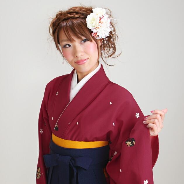 卒業式 袴 レンタル 赤色 かんざし 身長〜170cm,7号〜13号 NT-252