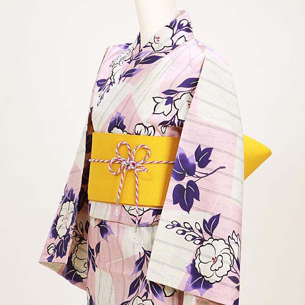 【浴衣 レンタル】レディース 3点セット☆浴衣・帯・下駄☆nt-y047 ベージュピンク/トルコ桔梗