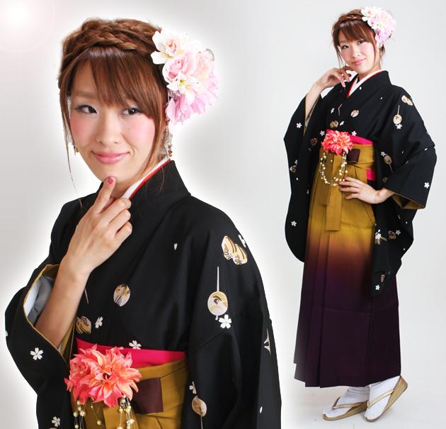 卒業式 袴 レンタル 黒色 かんざし 身長〜170cm,7号〜13号 NT-253