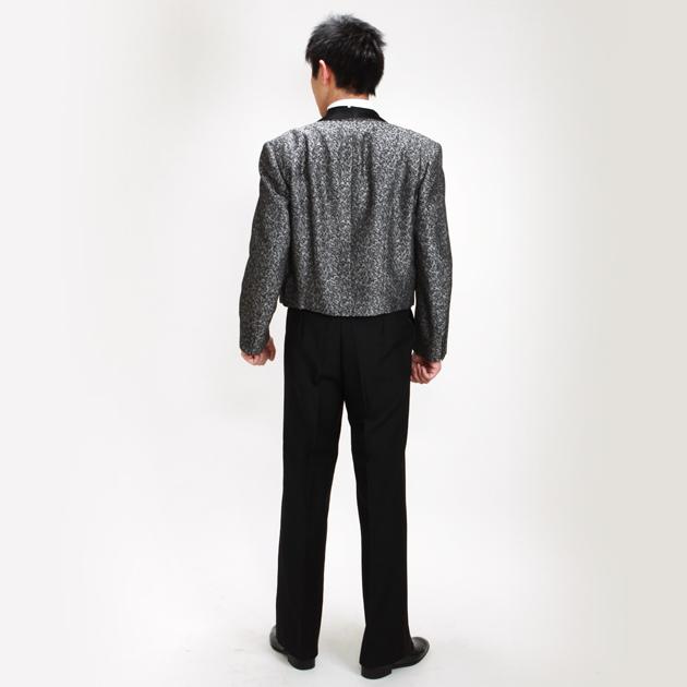 【スペンサー タキシード レンタル】L・XLサイズ/170cm〜182cm/グレー 変わり織 結婚式 1143