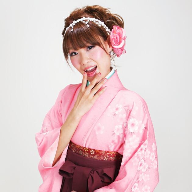 卒業式 袴 レンタル ピンク色 桜吹雪 花柄色 身長〜170cm,7号〜13号 NT-260