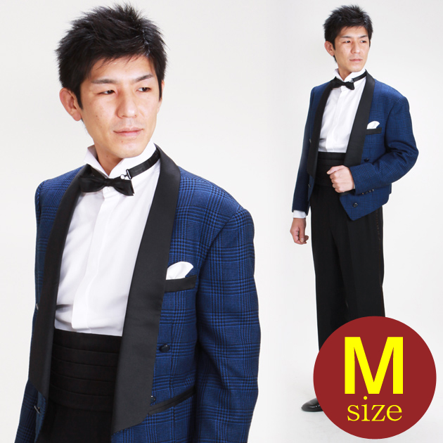 【スペンサー タキシード レンタル】M・Lサイズ/165cm〜172cm/青 パーティ 演奏会 652