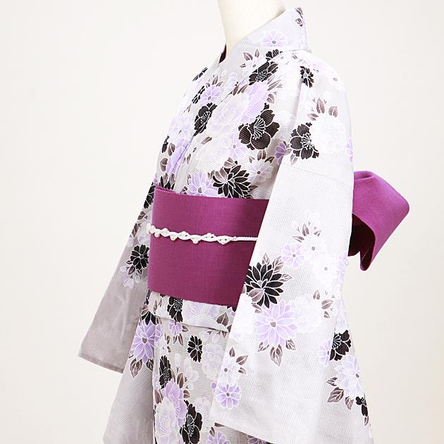 【浴衣 レンタル】レディース 3点セット☆浴衣・帯・下駄☆nt-y049 うすグレー/紫花
