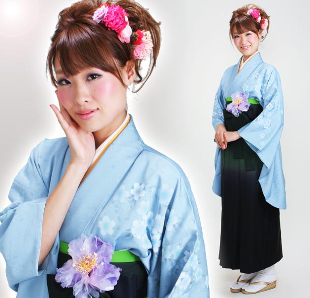 卒業式 袴 レンタル ブルー色 桜柄色 身長〜170cm,7号〜13号 NT-262