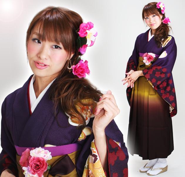 卒業式 袴 レンタル 紫色 うさぎ さくら 梅 グラデ袴 身長〜170cm,7号〜13号 NT-269