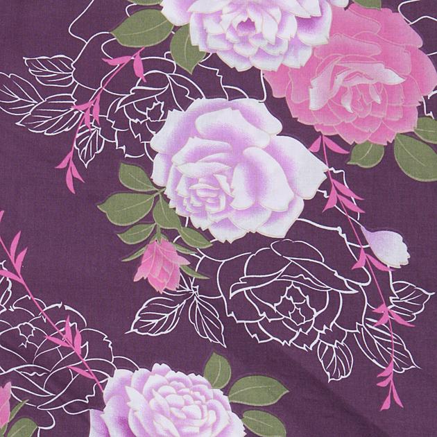 【浴衣 レンタル】レディース 3点セット☆浴衣・帯・下駄☆nt-y053 紫色/バラ