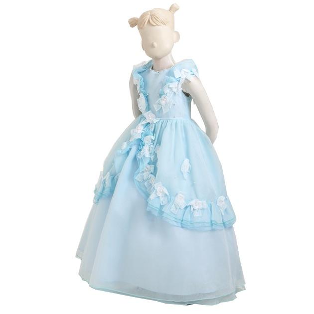 子供 ドレス レンタル 3〜4才 ブルー色 ノースリーブ er2121