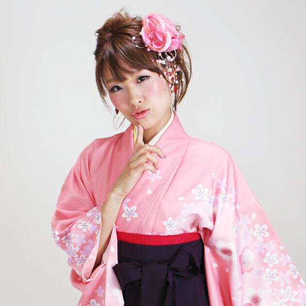 卒業式 袴 レンタル ピンク色 ぼかし桜柄 花柄はかま 身長〜170cm,7号〜13号 NT-274