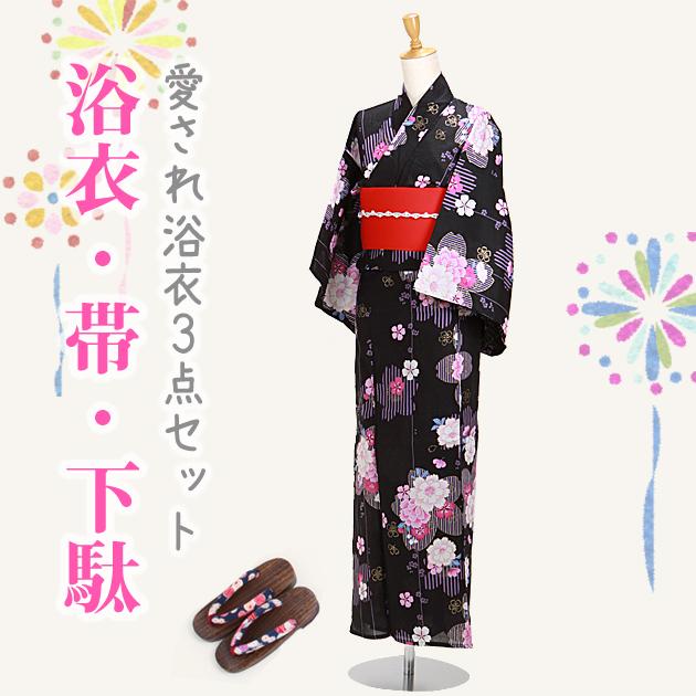 【浴衣 レンタル】レディース 3点セット☆浴衣・帯・下駄☆nt-y055 黒色/八重桜ラメピンク