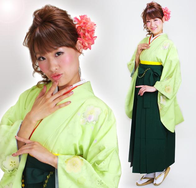 卒業式 袴 レンタル ひわ色 イエローグリーン ピース桜柄 身長〜170cm,7号〜13号 NT-276