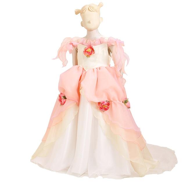 子供 ドレス レンタル 5〜7才 ピンクイエロー色 ノースリーブ ka8270