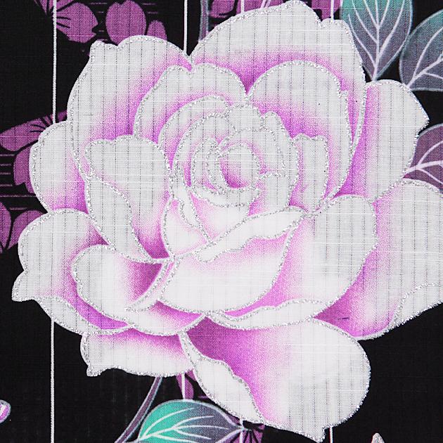 【浴衣 レンタル】レディース 3点セット☆浴衣・帯・下駄☆nt-y056 黒色/紫ラメバラ