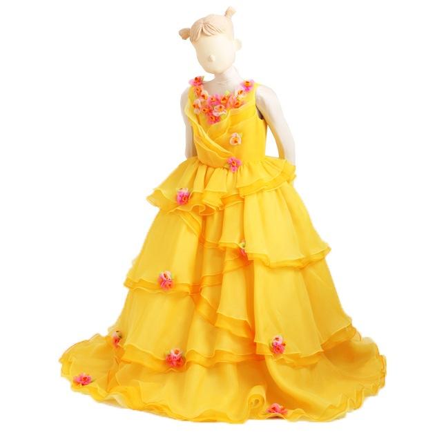 子供 ドレス レンタル 7〜9才 イエロー色 ノースリーブ er3502
