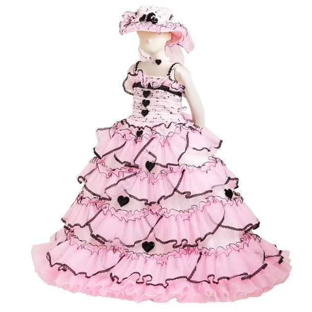 子供 ドレス レンタル 7〜9才 ピンク色 ノースリーブ p7439