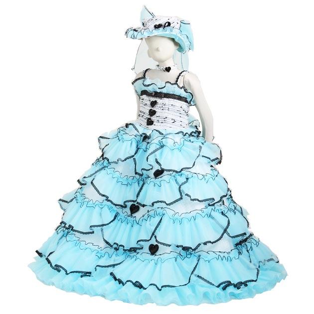 子供 ドレス レンタル 7〜9才 ブルー色 ノースリーブ b7439