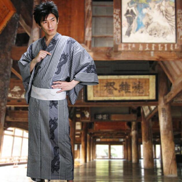 【浴衣 メンズ レンタル】ゆかたレンタル 3点セット☆浴衣・帯・下駄☆nt-my102 グレー/龍