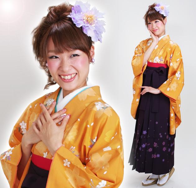 卒業式 袴 レンタル オレンジ色 桜小紋 身長〜170cm,7号〜13号 NT-281