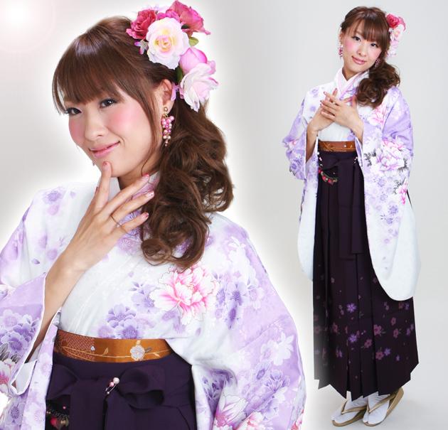 卒業式 袴 レンタル 白ラベンダー色 ぼたん桜色 身長〜170cm,7号〜13号 NT-290