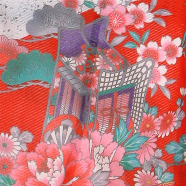 夏用 絽〔お宮参り レンタル 夏物〕赤色・白色/御所車 ro-151 ふたご 女の子 初着 産着 お宮参りレンタル