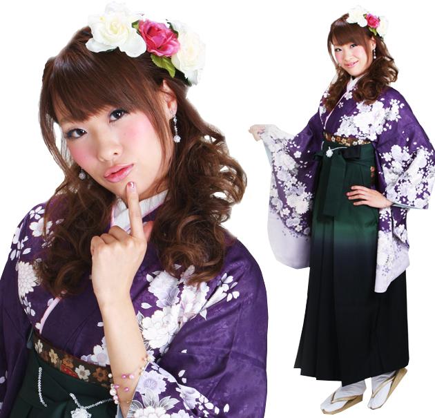 卒業式 袴 レンタル 紫色 パープル ぼたん桜 身長〜170cm,7号〜13号 NT-291
