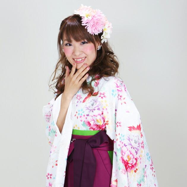 卒業式 袴 レンタル 白色 ぼたんカラフル 身長〜170cm,7号〜13号 NT-293
